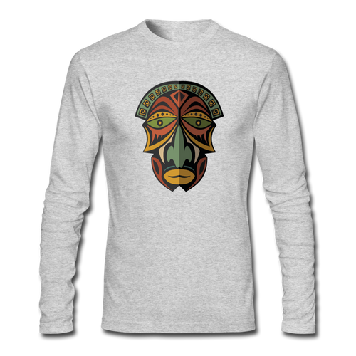 African Mask Men's Long Sleeve T-Shirt by Next Level - heather gray