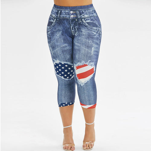 Plus Size Women Leggings American Flag