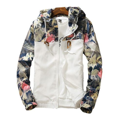 Floral Bomber Jacket Men Hip Hop Slim Fit