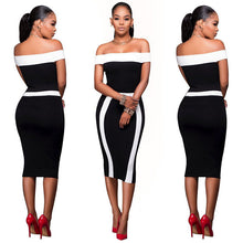 Load image into Gallery viewer, Off Shoulder Bodycon Dress Women Casual Bandage short Sleeve Party Dress