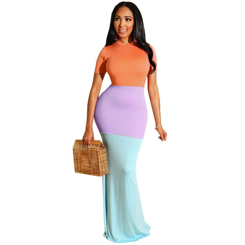 Women Color Maxi Dresses  O-neck Short Sleeve Zipper Up Patchwork Body-con Dress