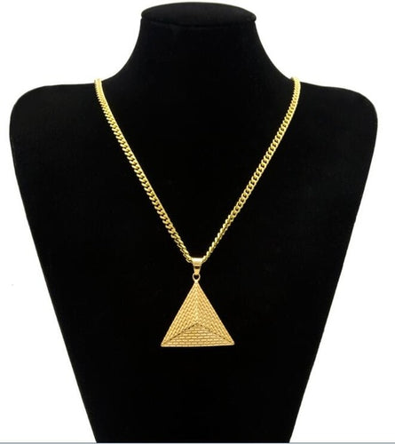 Egypt Pyramid Three-dimensional Inverted Triangle Pendant Women/Men Necklace