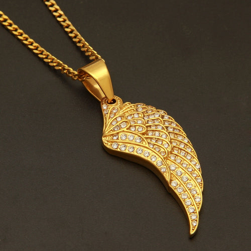 Wing Pendant Necklace High Quality Iced Out Rhinestones Chain
