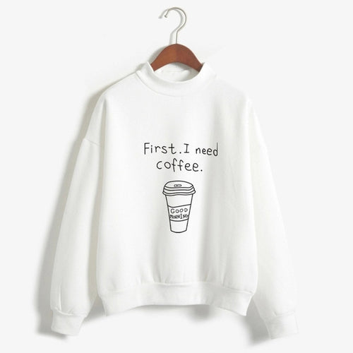 Women I Need Coffee Letter Print Sweatshirt Long Sleeve Turtleneck Fleece Girls Pullover