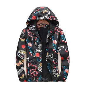 Statement Piece Windbreaker Coat Tiger, Snake, Flower Pattern