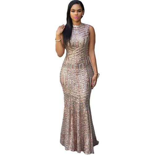 Elegant Sequin Hollow Out Women Sexy Party Dresses Club Wear  O-neck Silver Maxi Dress