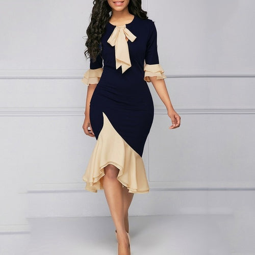 Vintage Elegant Office Lady Women Dresses Bodycon Flare Sleeve Bow Collar