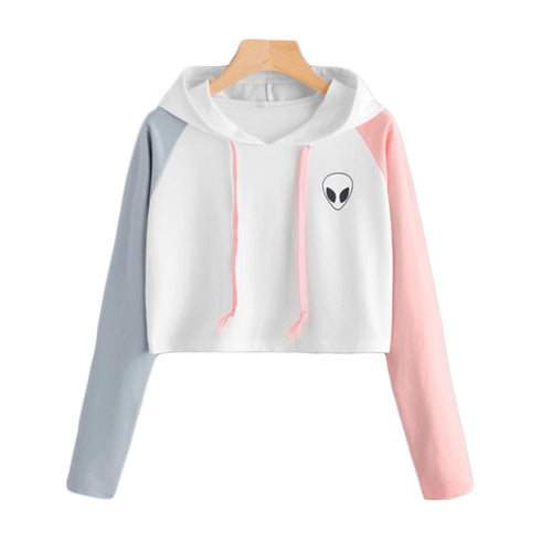 Women Long Sleeve Crop Top Hoodie Sweatshirt