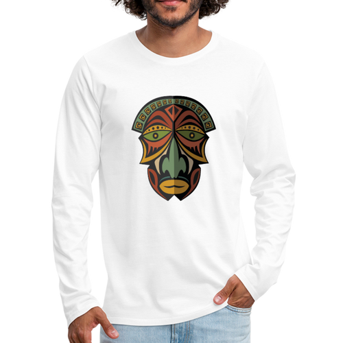 African Mask Men's Premium Long Sleeve T-Shirt - white