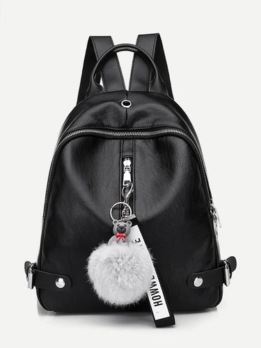 Pom Pom Designer Leather Backpack