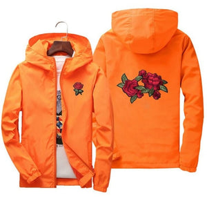 Rose Print Windbreaker Kacket Men And Women's New Fashion Jacket