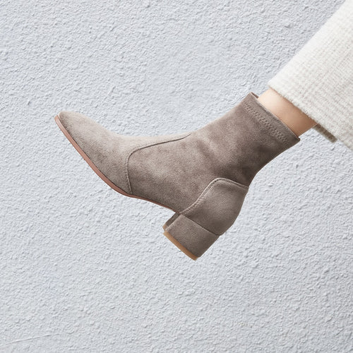 Women Elastic FLOCK Boots Suede Short Boots Handmade Classic pointed toe Sheepskin insole all-match
