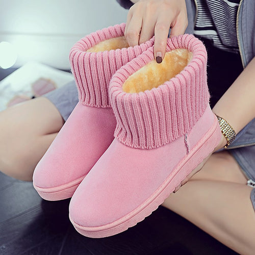 Warm Winter Snow Boots Pink Flat Bottom Round Toe Women