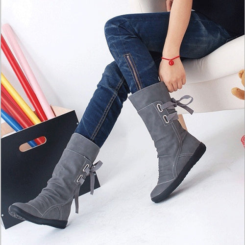 New Mid-Calf Boots Women Fashion Platform Boots Slip On Lace-up Solid Flat Heels