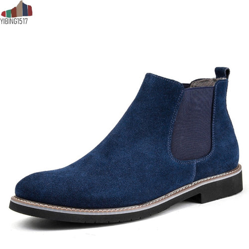 Casual Pointed Toe Chelsea Boots Men Genuine Leather Suede Slip on Design