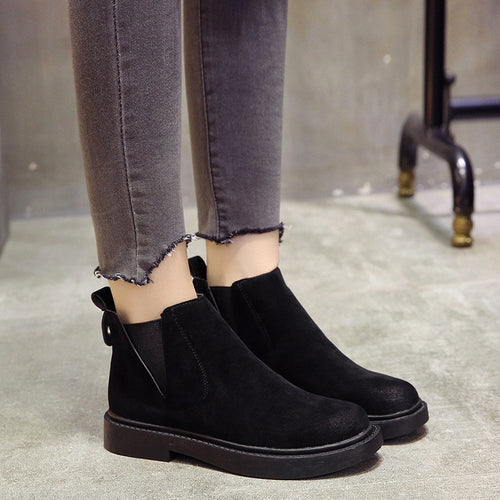 Boots Slip On Black Ankle Boots For Women Flat Low Heel Winter