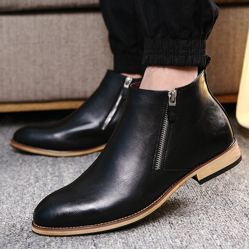Split Leather Boots Men Shoes Footwear High Quality Zipper Party Business Dress Ankle Adult Men Boots