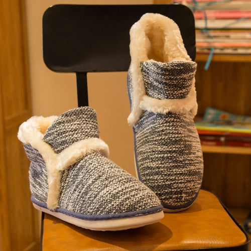 Winter Warm Home Slippers  Soft Non-Slip Short Plush Indoor Floor Shoes