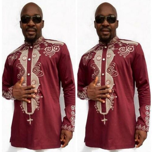 Luxury Red African Traditional Tribal Men Dress Shirt