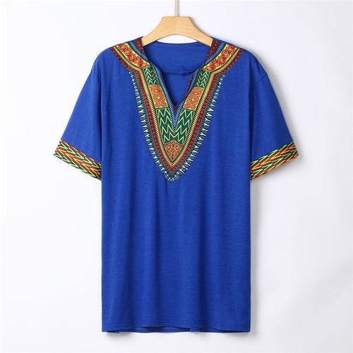 African Dashiki Print V Neck Short Sleeve T Shirt