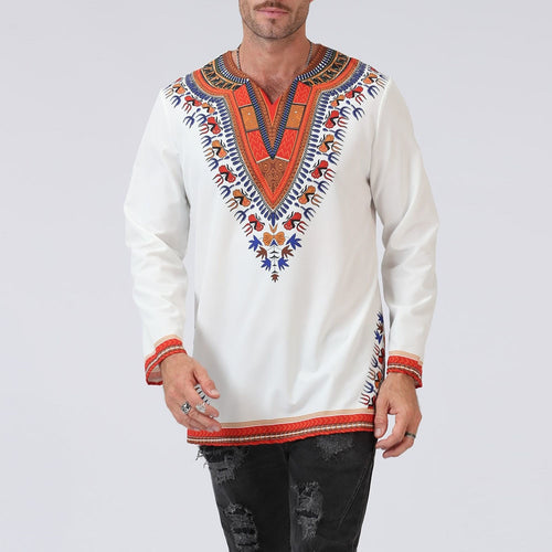 Male Dashiki Vintage T shirts Bohemia Retro Tops Men African Printed T-shirt Ethnic Traditional Tees
