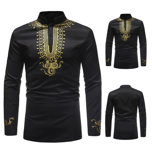 Luxury African Print Long Sleeve Dashiki Shirt Top