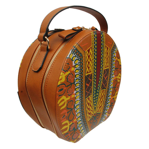 Dashiki Leather Round Handbag Brown Tribal Print