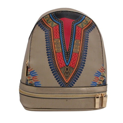 Leather Backpack and Wallet Set Gold Dashiki Print