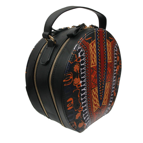 Dashiki Leather Round Handbag Black Dashiki Print