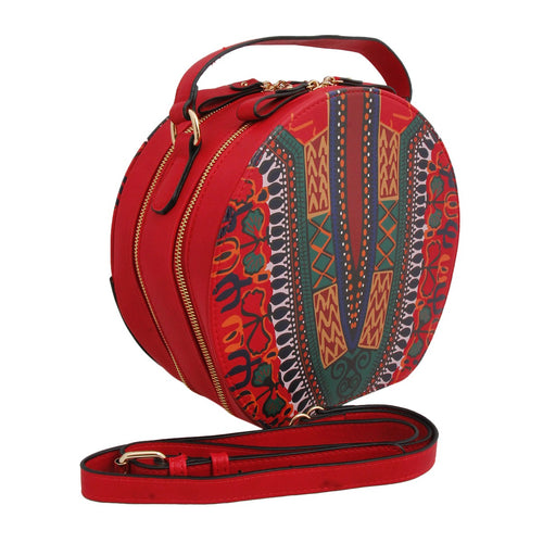 Dashiki Print Leather Round Handbag Red