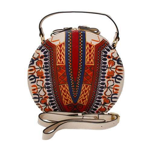 Leather Round Handbag Cream Dashiki Print