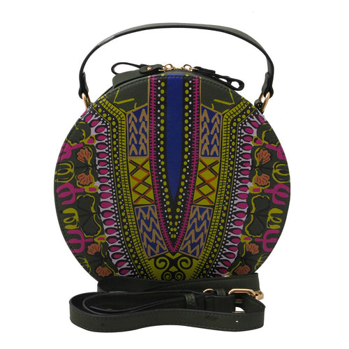 Dashiki Leather Round Handbag Olive Tribal Prints