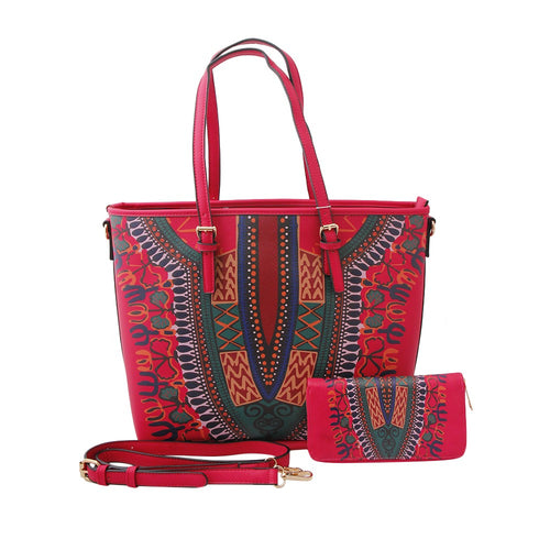 Leather Tote Handbag & Wallet Dashiki Print