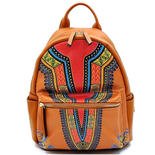 Dashiki Leather Backpack and Wallet Set Brown Print