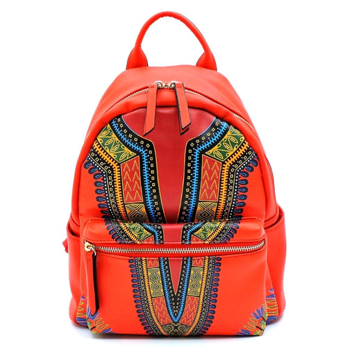 Dashiki Leather Backpack and Wallet Set Red Tribal Print