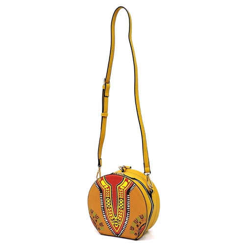 Leather Round Wristlet Clutch / Crossbody Bag Yellow Dashiki Print