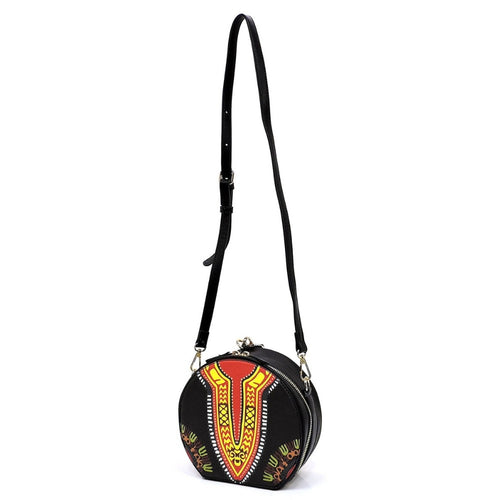 Crossbody Black Dashiki Print Leather Bag
