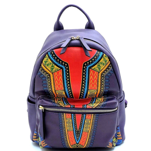 Leather Backpack and Wallet Set Purple Dashiki Print