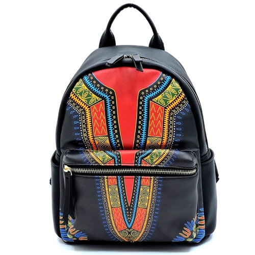 Dashiki Leather Backpack and Wallet Set Black Dashiki Print
