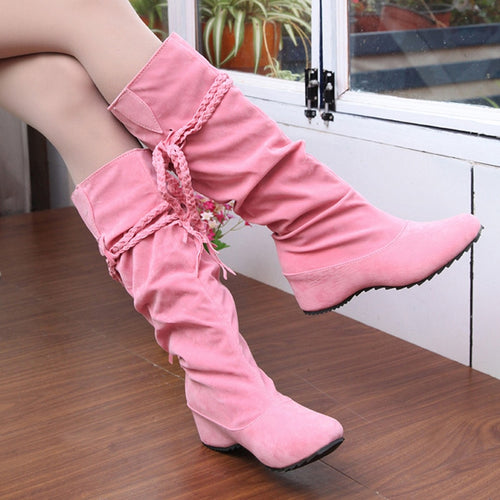 New Women Boots Autumn Winter Fringe Half Knee High Boots