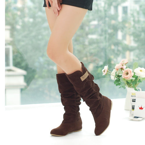 Women's Flock Plush Padded Winter Long Riding Motorcycle Boots