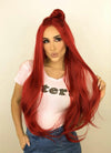 Straight Red Lace Front Synthetic Wig LF150C