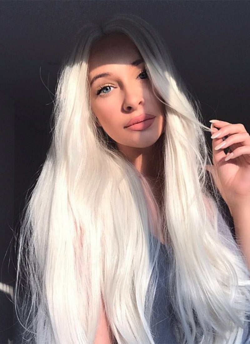 Straight Platinum Blonde Lace Front Synthetic Wig LW150D