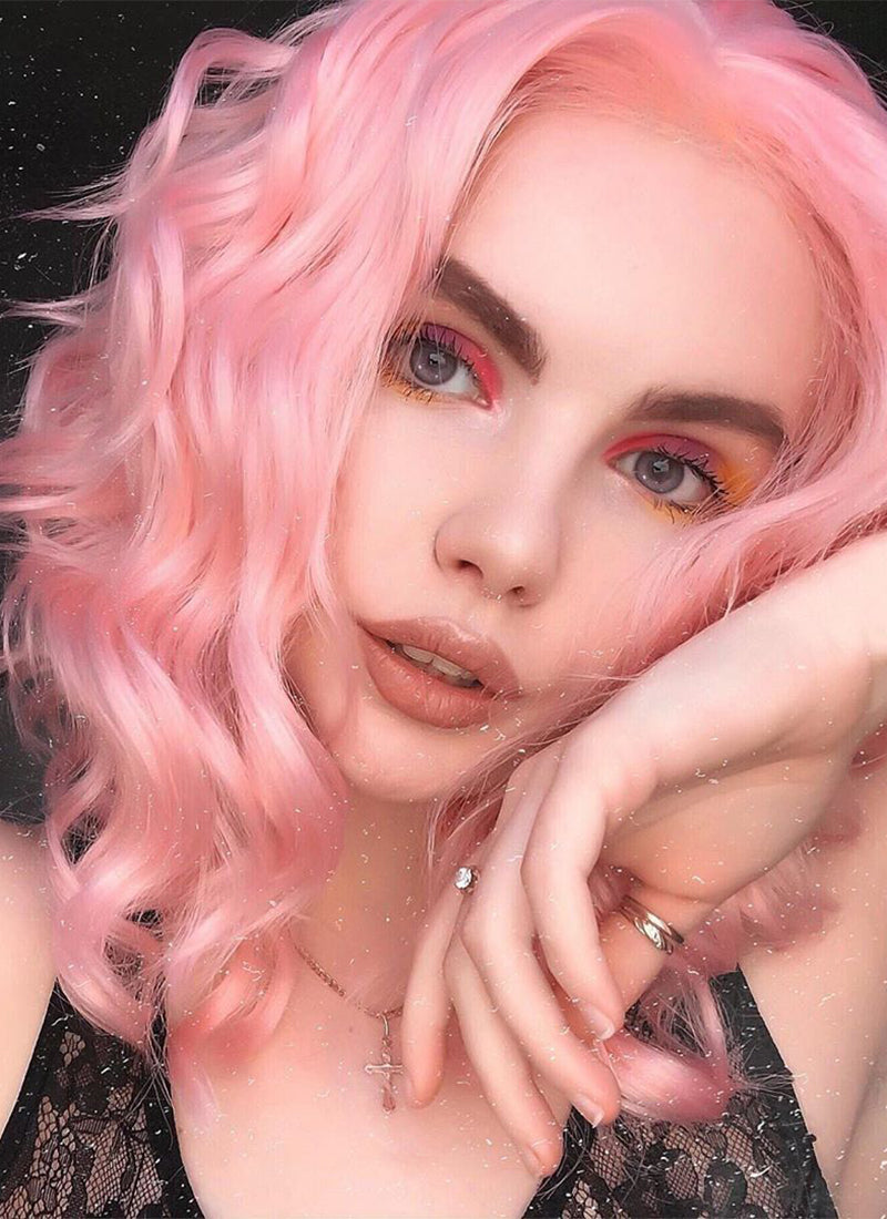 Pink Wavy Bob Lace Front Synthetic Wig LF440