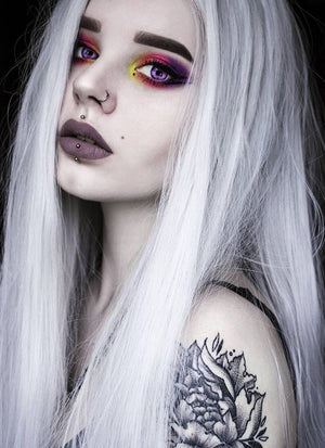 Straight Yaki Silver Grey Lace Front Synthetic Wig LF624N