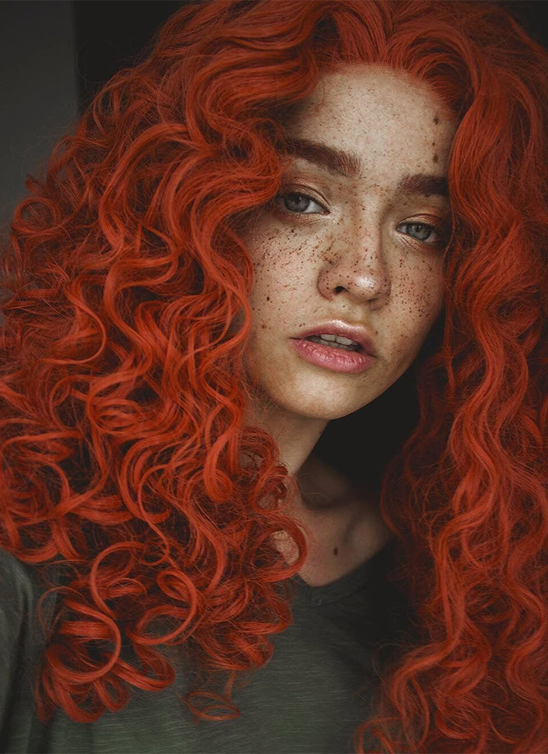 Orange Red Spiral Curly Lace Front Synthetic Wig LW663J