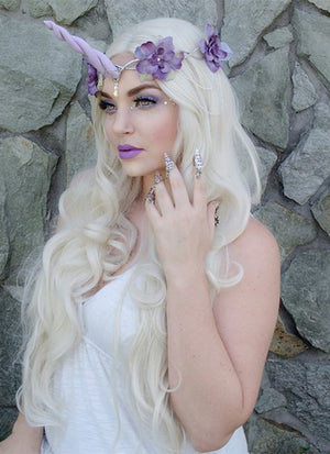 Wavy Platinum Blonde Lace Front Synthetic Wig LF667F