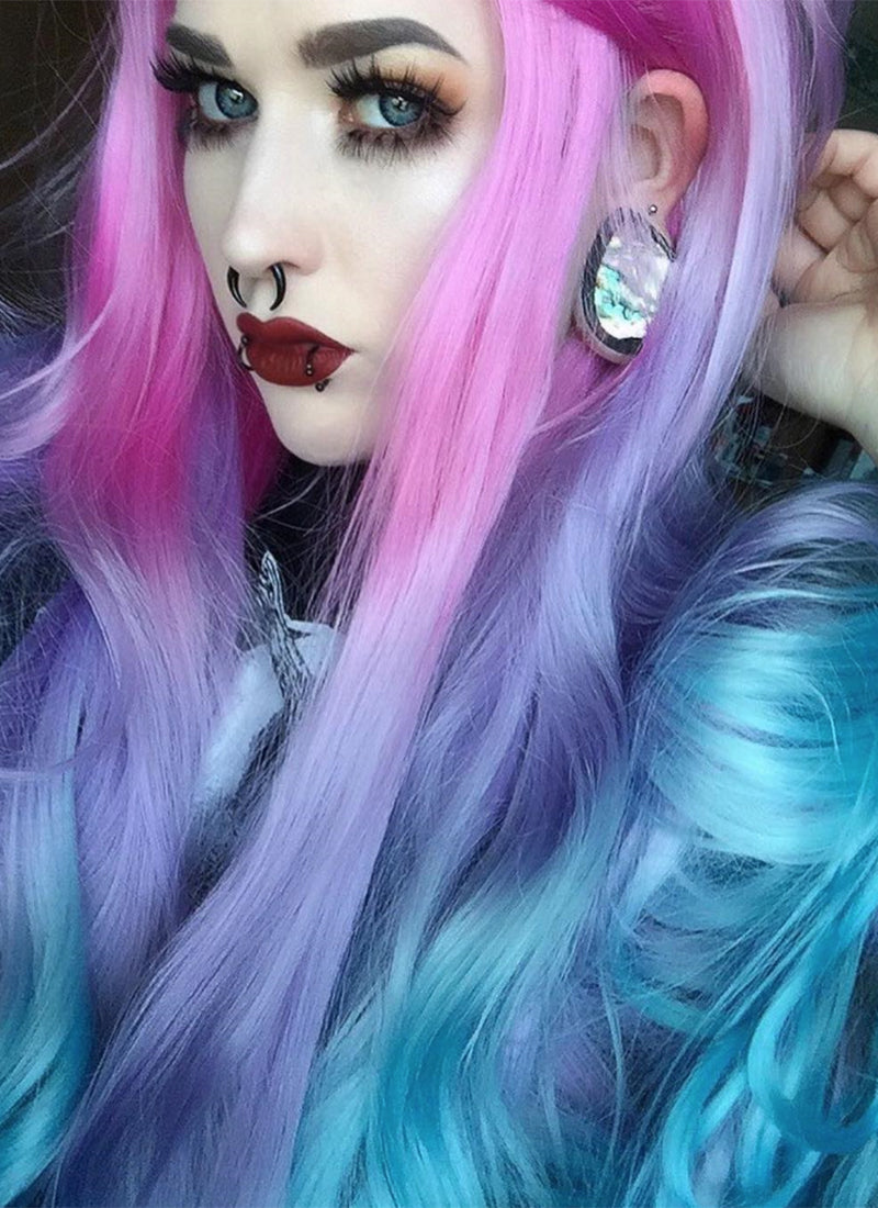 Wavy Magenta Purple Blue Ombre Lace Front Synthetic Wig