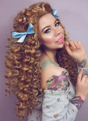 Spiral Curly Mixed Blonde Lace Front Synthetic Wig LW817