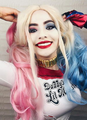 Wavy Blonde Harley Quinn Synthetic Pink Blue Ponytail Lace Front Wig LF853